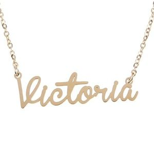 Jewelry - Victoria Gold Name Nameplate Necklace B25